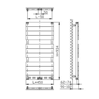 BONDI Badheizkörper 450x934mm, Anthrazit