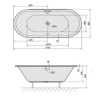 VIVA Ovale Badewanne mit Füßen 175x80x47cm, weiß
