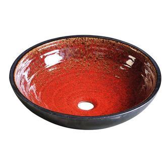 ATTILA Keramik-Waschtisch Durchmesser 46cm, tomatenrot/petroleum