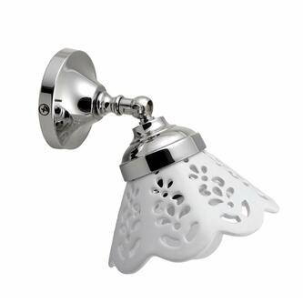 TRAPANI Leuchte E14 40W, 230V, Keramik Leuchtschirm, Chrom