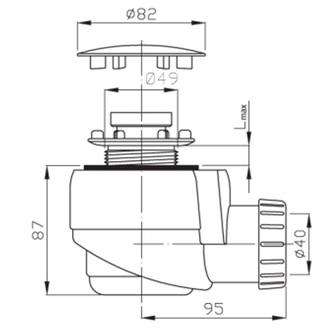 Duschwannensiphon, 50mm, ABS/Chrom