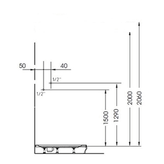 LUK Duschpaneel 250x1300mm mit Thermostat-Armatur, Eckmontage