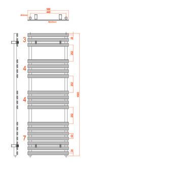 JALOUSI Heizkörper 500x1500mm, 765W, weiß