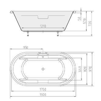 TOSCANA Ovale Badewanne mit Füßen 190x98x58cm, weiß