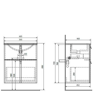 MITRA Unterschrank 60,5x70x46 cm, bordeaux