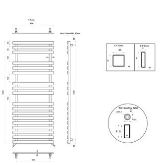 TRUVA Heizkörper 600x1500mm, 400W, gebürsteter Edelstahl