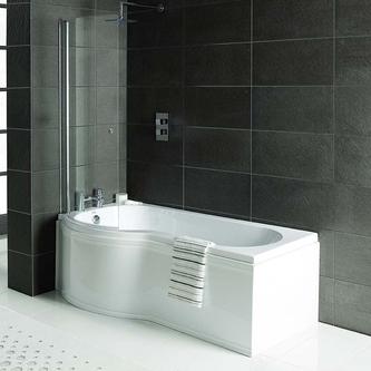 Raumspar Badewanne mit Duschzone 150x80/70cm, links, weiß Komplett-Set