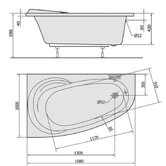 NAOS 158 R Badewanne mit Füßen 158x100x43cm, rechts, weiß