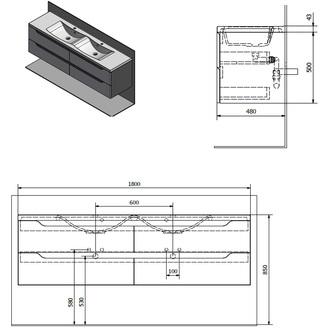WAVE Doppelunterschrank 180x50x48cm, weiß/Silbereiche