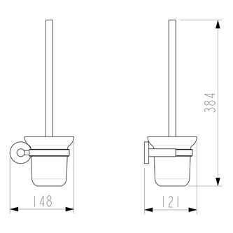 X-ROUND Wand WC-Bürste, Glas satiniert, Chrom