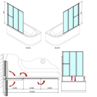 LANKA3 Duschabtrennung 120cm, Profil weiß, Klarglas