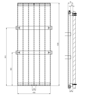 MAGNIFICA Heizkörper 456x1206mm, gebürsteter Edelstahl