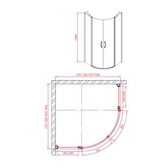 ONE Duschabtrennung Viertelkreis 800x800 mm, Klarglas