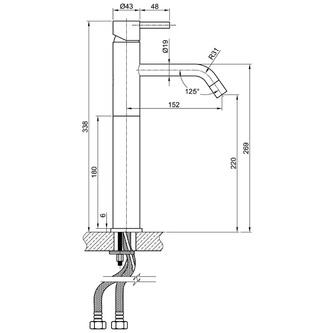 MINIMAL Edelstahl Waschtischarmatur hoch, ohne Ablaufgarnitur, 338mm
