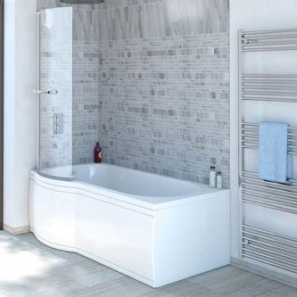 SKALI Badewanne mit Duschzone 167,5x85/75x40 cm, links, weiß Komplett-Set