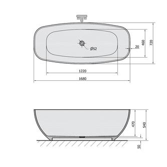 IPANEMA Freistehende Badewanne 168x72x49cm, weiß