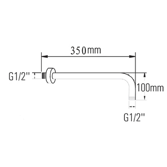 Duscharm 350mm, Messing / chrom