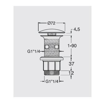 Nicht verschließbare Waschtisch-Ablaufgarnitur, H. 10-80mm, Chrom