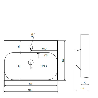 JOY Gussmarmor-Waschtisch 50x37cm, weiß