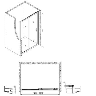 Sigma Rechteckige Duschkabine 1300x800mm L/R Variante,Klarglas