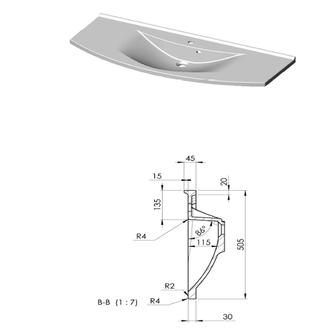 ARAS Gussmarmor-Waschtisch 120x50,5cm, weiß