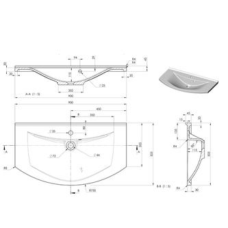 ARAS Gussmarmor-Waschtisch 90x50,5cm, weiß