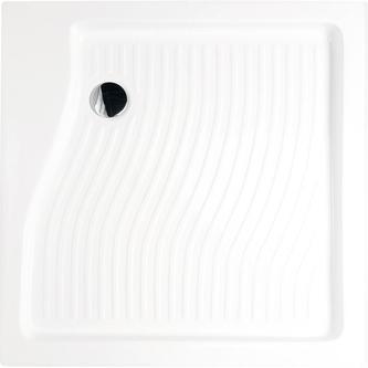 Acryl-Duschwanne, Quadrat 90x90x15cm inkl.Schürze, Fußgestell und Sifon