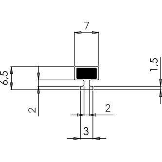 VITRA LINE Magnetdichtung für Nischen-Duschtür, 2000mm