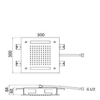 CHROMOTHERAPIE Kopfbrause 300x300mm, Regen, Steuerungstyp A, Edelstahl (A579LH6WR)
