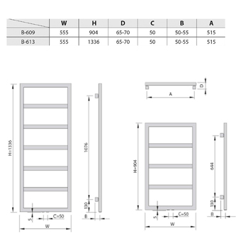DENALI Heizkörper 550x1336mm, 411 W, silber struktural
