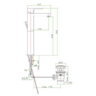 ESPADA Waschtischarmatur 300mm mit Ablaufgarnitur, Chrom