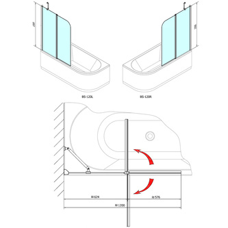 PALOMA Duschabtrennung 120x150cm, Klarglas