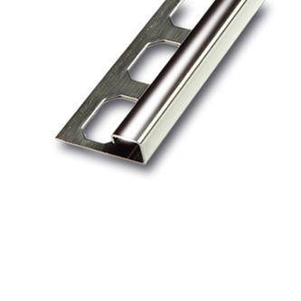 Edelstahl QUADRO Fliesenschiene, Oberfläche glänzend, 250cm lang, 7mm hoch
