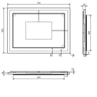 MITRA Spiegel im Rahmen 72x52x4 cm, weiß