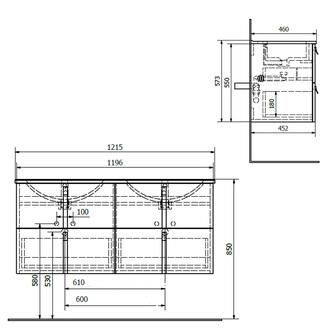 MITRA Unterschrank 121,5x55x46cm, bordeaux