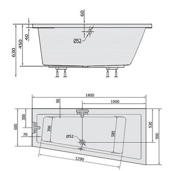 Raumspar Badewanne ANDRA, 180x90x45cm, rechts, weiß