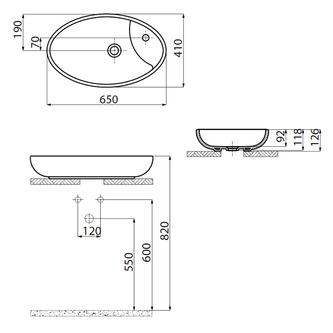 MINIMAL Waschtisch 64,5x40,5x12 cm, oval, zum Aufsetzen