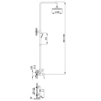 LUKA Duschsäule mit Armatur, 990-1400mm, Chrom