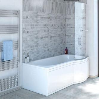SKALI Badewanne mit Duschzone 150x80/70x38 cm, rechts, weiß Komplett-Set