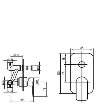 DAPHNE Unterputz-Duscharmatur , 2 Wege, Chrom