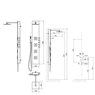 5SIDE SQUARE Duschpaneel 250x1550mm, Aluminium