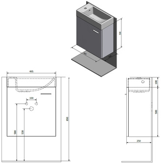 LATUS IV Unterschrank 49,5x50x25 cm, Kiefer Rustikal