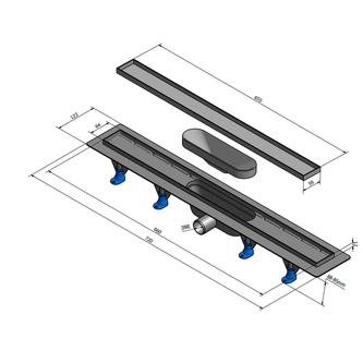 TILE Kunststoff-Duschrinne mit Edelstahl-Rost, zur Aufnahme von Fliesen, L=720mm