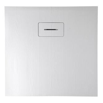 AMAR Duschwanne aus Mineralguß 90x90x3,5cm, weiß, Holzdekor