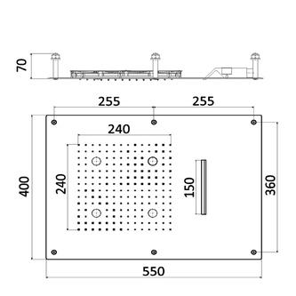 CHROMOTHERAPIE Kopfbrause 550x400mm, Regen, Kaskade, Steuerungstyp B, Edelstahl