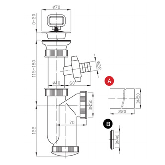 Spülen-Siphon, Abfluss 50mm mit Abzweig, Kunstsfoff