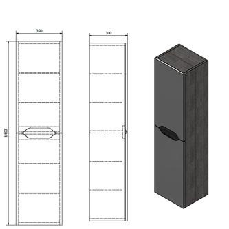WAVE Hochschrank 35x140x30cm, weiß/Silbereiche