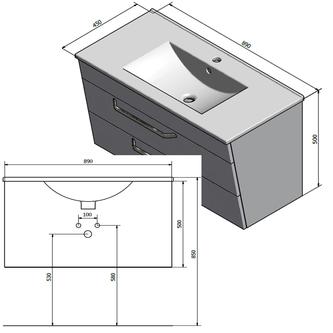 KALI Unterschrank 89x50x45cm, weiß