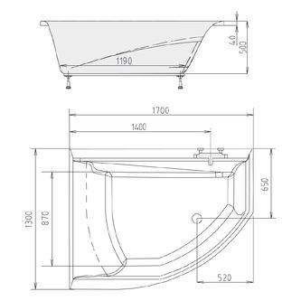 TANDEM asymmetrische Badewanne 170x130x50cm, links, weiß