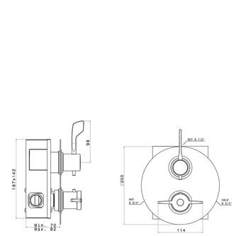 MR Thermostat-Duscharmatur für Behinderte, Chrom